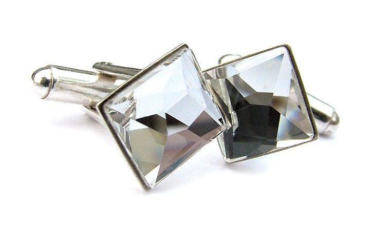 Ślubne spinki do mankietów - kwadratowe - Swarovski Crystal