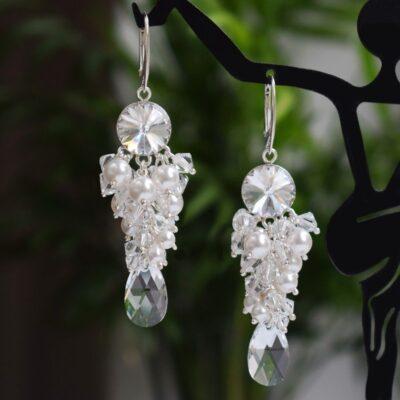 Bogate klipsy ślubne - srebrne - kryształy Swarovski Crystal i perły White