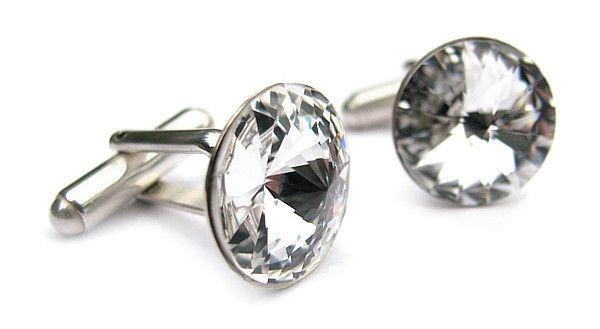 Ślubne spinki do mankietów - Swarovski Crystal - Gianni - Pan Młody