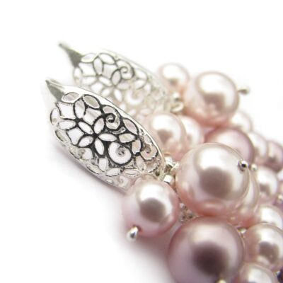 Ślubne gronka Swarovski - różane perły