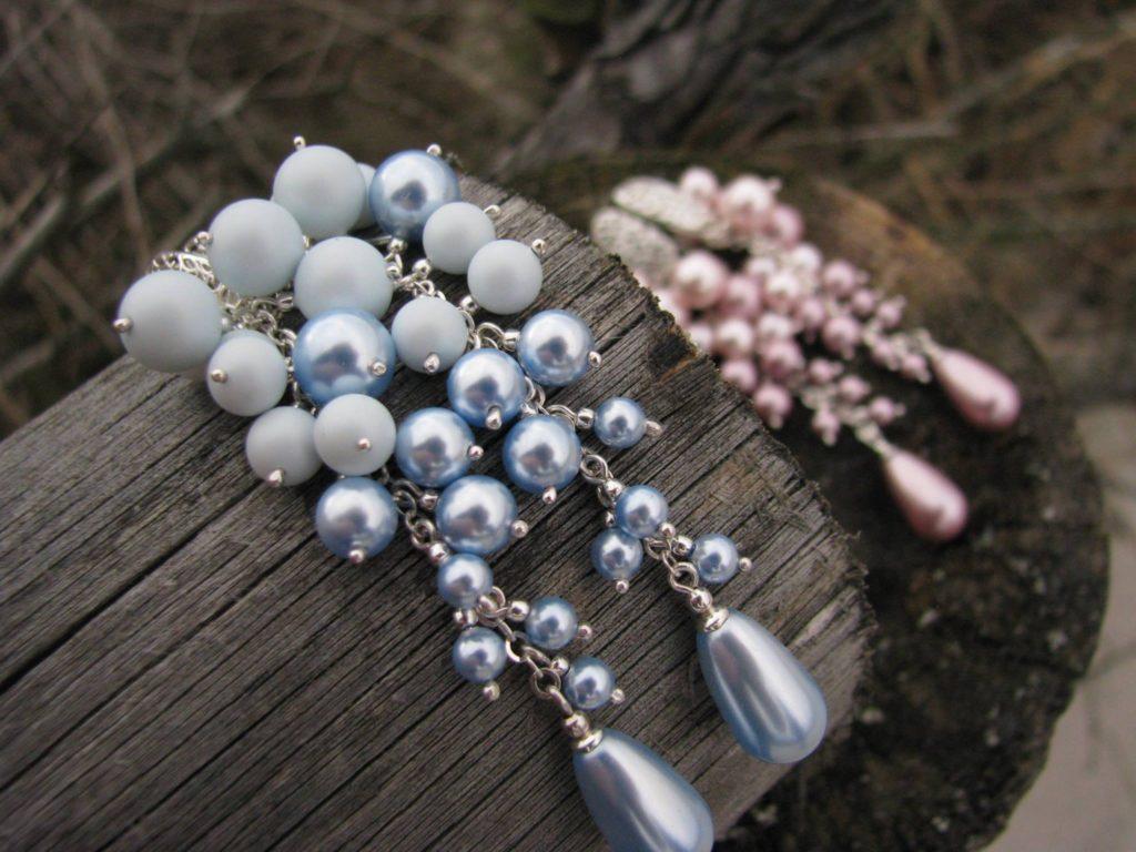 Ślubne gronka Swarovski - błękitne perły