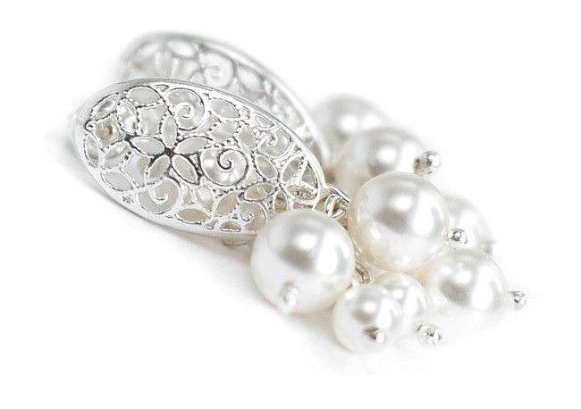Małe kolczyki ślubne - gronka ażurowe - perły Swarovski