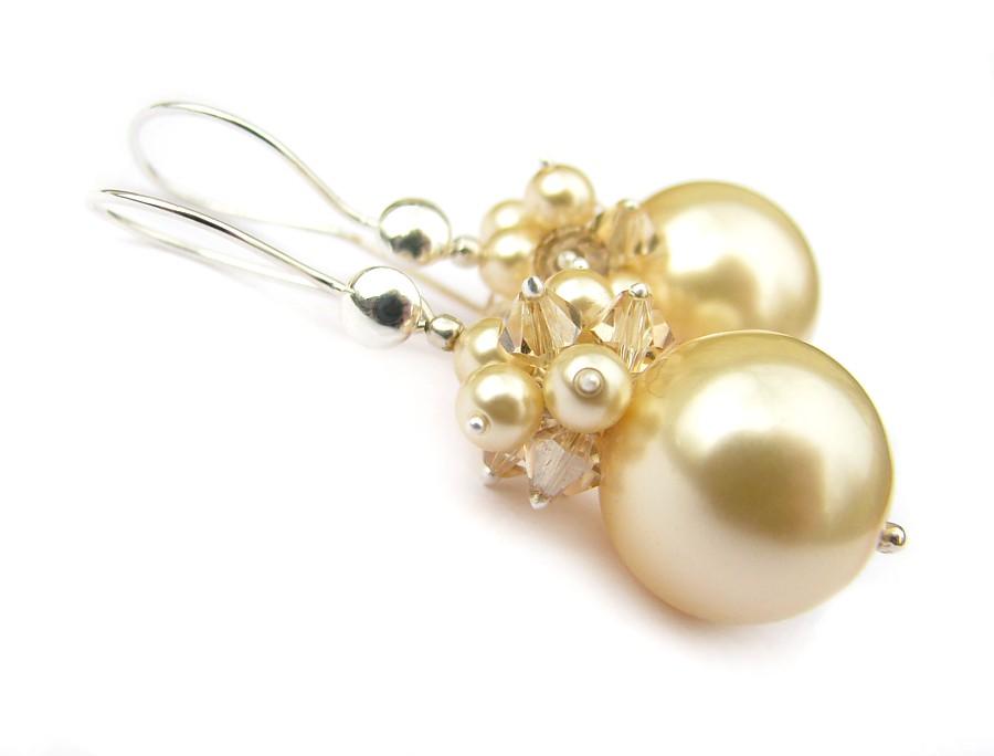Kolczyki ślubne - kule gronka perłowe - Swarovski Phoebe Light Gold