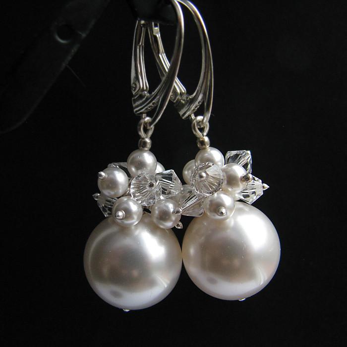 Kolczyki ślubne - kule gronka perłowe - Swarovski Phoebe White