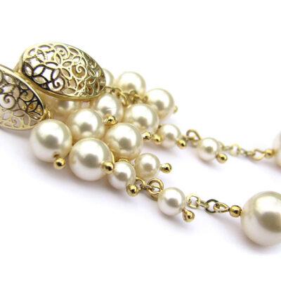Ślubne kolczyki z perłami Swarovski - Creamrose Light - Lilian