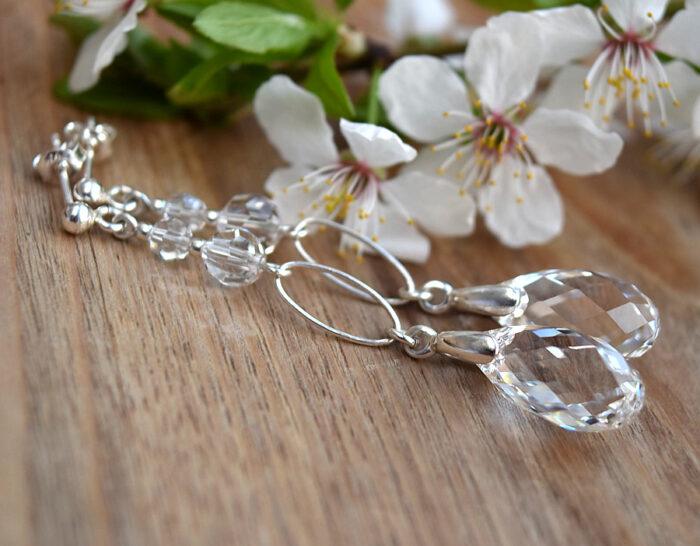 Długie kolczyki ślubne Swarovski Crystal - Graceful