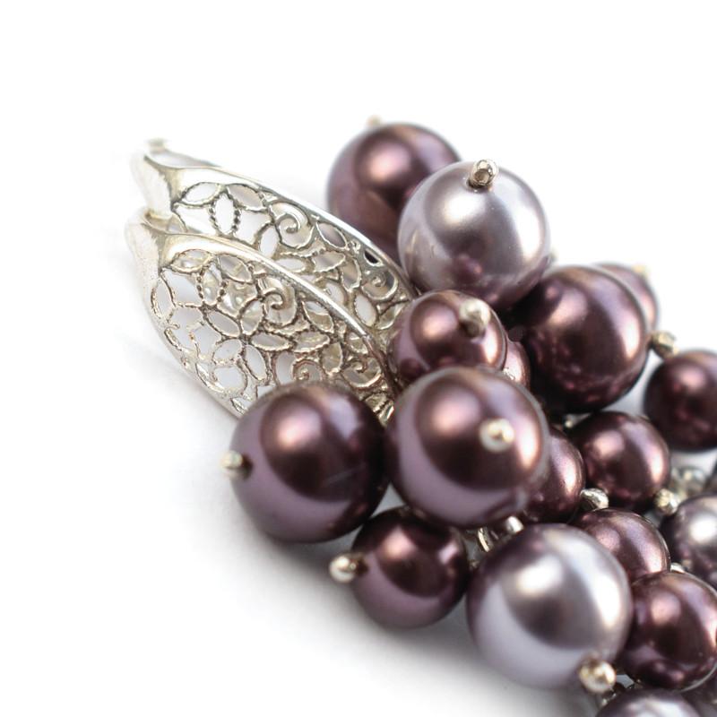 Długie kolczyki ślubne - gronka Swarovski - perły wrzosowe