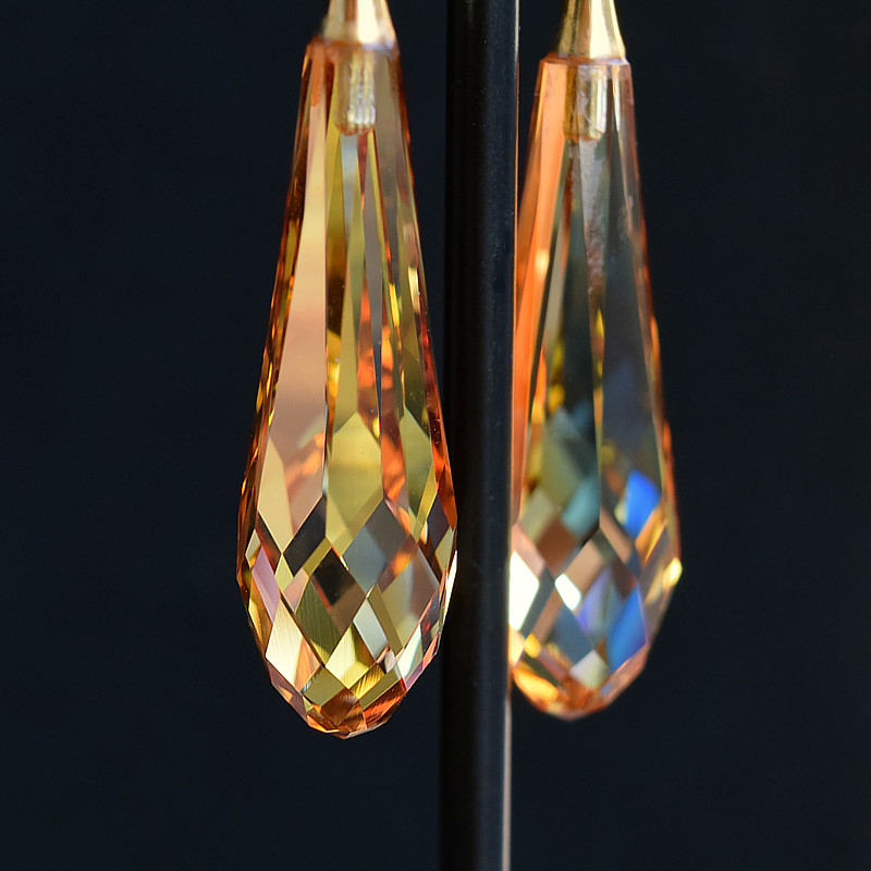 Długie złote kolczyki ślubne Swarovski Metallic Sunshine - Grace