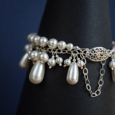 Bransoletka ślubna - Swarovski White Pearl - Rosalia