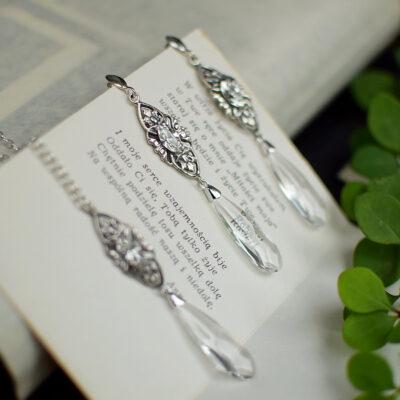 Długie kolczyki ślubne i naszyjnik na plecy z kryształami Swarovski i filigranem retro