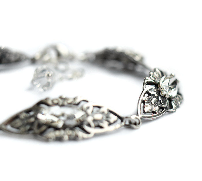 Bransoletka ślubna z kryształami Swarovski, rzeźbiona w stylu retro glam