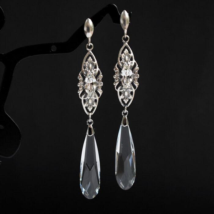 Długie kolczyki ślubne Swarovski Crystal - łezki Vivienne