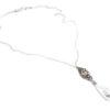 Ślubny delikatny naszyjnik na plecy - retro glam, rzeźbiony, z kryształem Swarovski