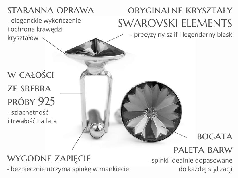 Cechy spinek do mankietów Anelle - srebrne spinki mankietowe z kryształami Swarovski dla Pana Młodego na ślub