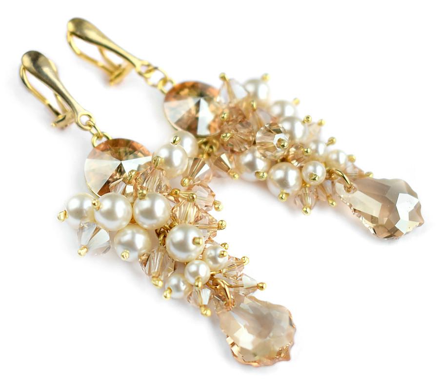 Bogate klipsy ślubne - pozłacane srebro - kryształy Swarovski Golden Shadow
