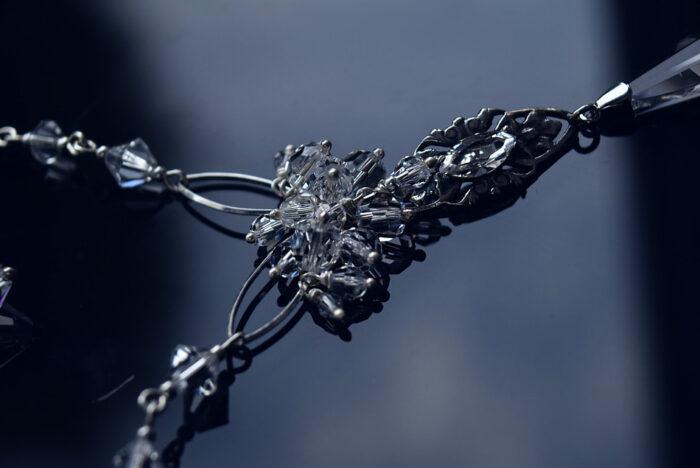 Ślubny naszyjnik w stylu retro - kryształy Swarovski