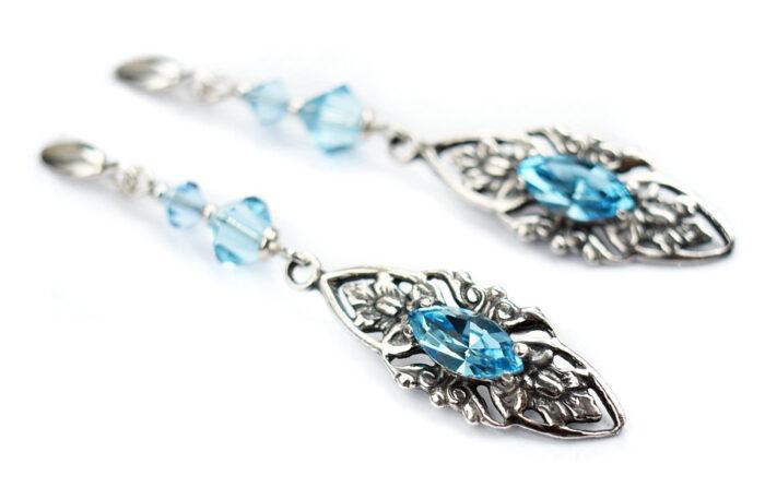Kolczyki ślubne niebieskie retro - kryształy Swarovski Aquamarine