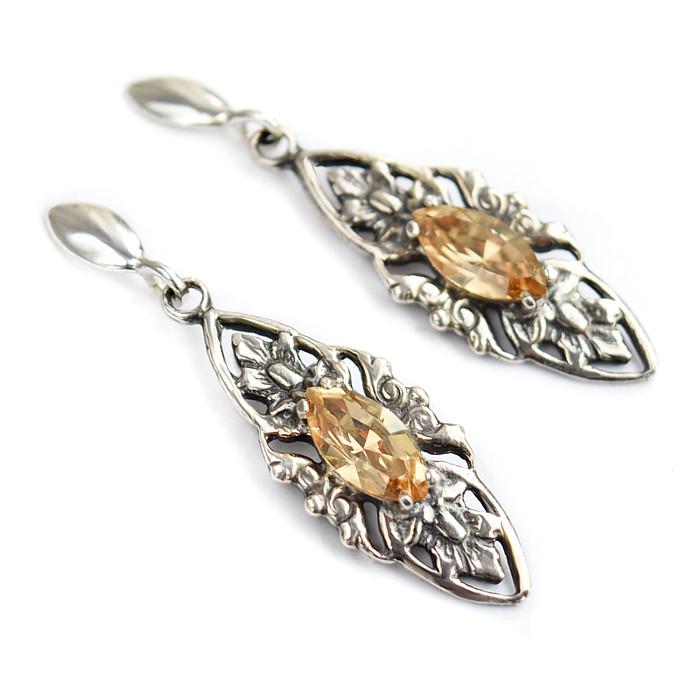 Kolczyki ślubne retro ze złotymi kryształkami Swarovski Golden Shadow