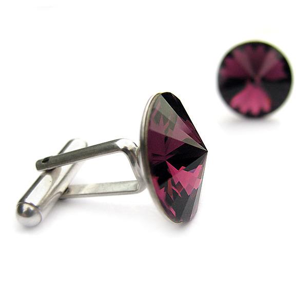 Spinki do mankietów dla drużby - srebro i kryształy Swarovski Amethyst - fioletowe, śliwka