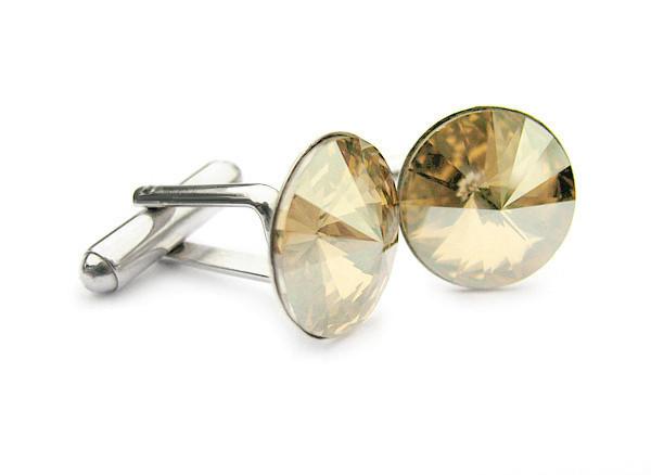 Ślub - spinki do mankietów dla Pana Młodego - Swarovski - kryształy Golden Shadow