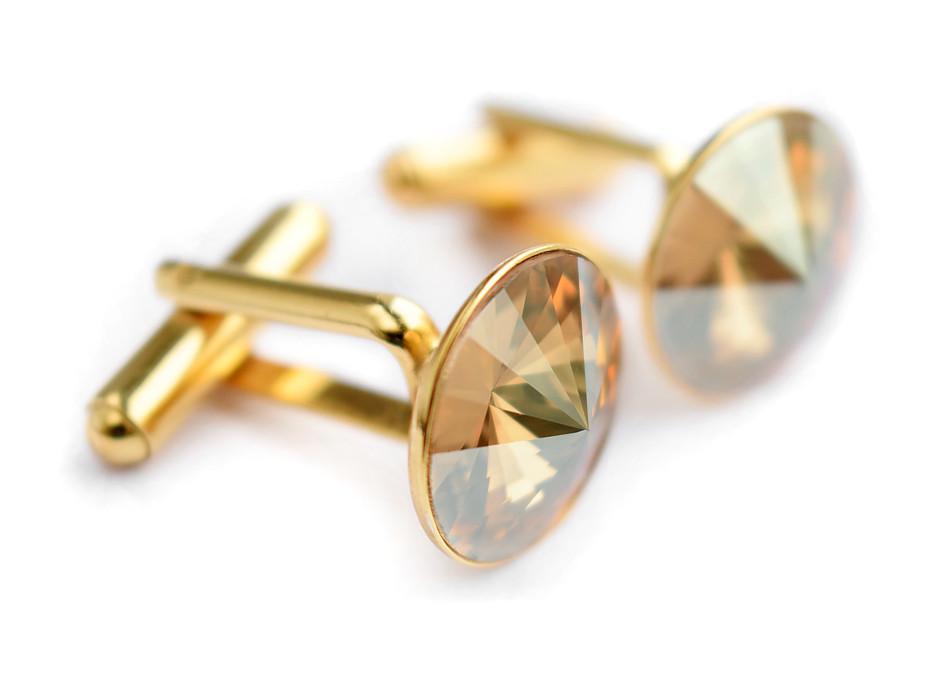 Pozłacane ślubne spinki do mankietów - kryształy Swarovski - Golden Shadow