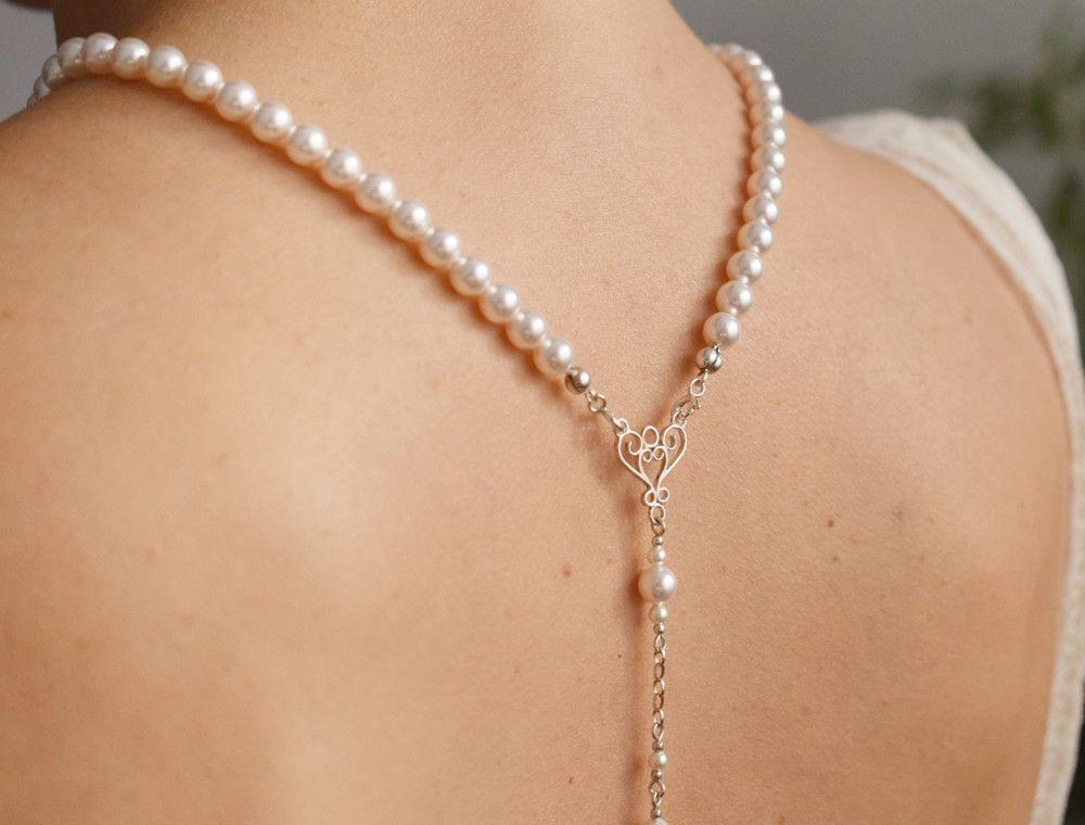 Perłowy naszyjnik na plecy - perły Swarovski na ślub