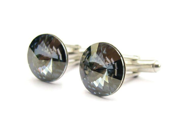 Ślubne spinki do mankietów koszuli - spinki mankietowe - swarovski i srebro - zgaszony niebieski - Blue Shade