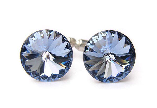 Ślubne spinki do mankietów koszuli - spinki mankietowe - swarovski i srebro - błękitne - Light Sapphire