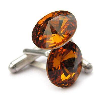 Ślubne spinki do mankietów koszuli - spinki mankietowe - swarovski i srebro - pomarańczowe, oranż - Topaz