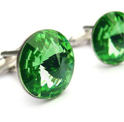 Ślubne spinki do mankietów koszuli - spinki mankietowe - swarovski i srebro - jasne zielone - Peridot