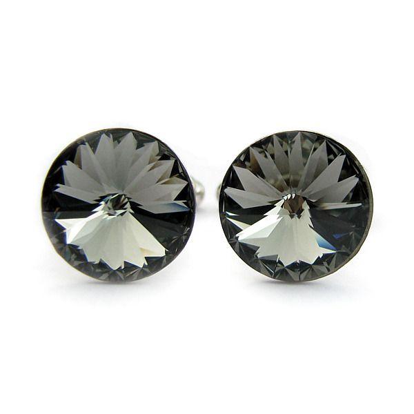 Ślubne spinki do mankietów koszuli Pana Młodego - Swarovski i srebro - grafitowe - Black Diamond