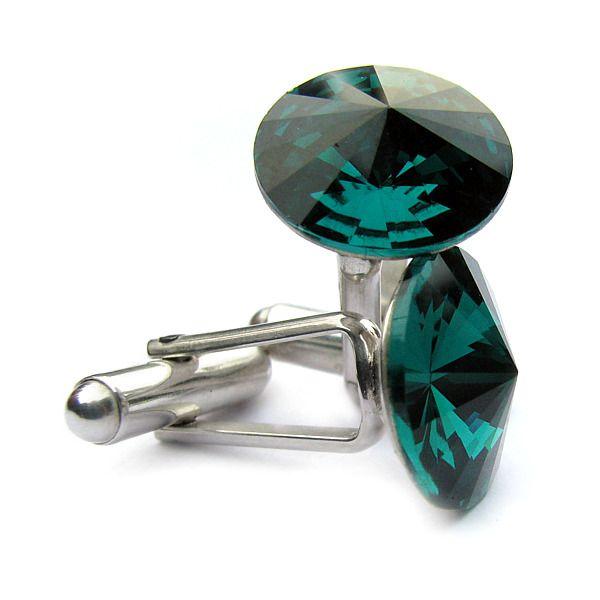 Ślubne spinki do mankietów koszuli - spinki mankietowe - swarovski i srebro - szmaragd - Emerald