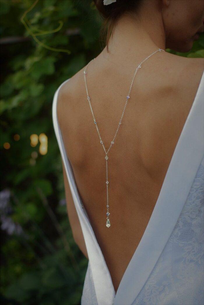 Tył naszyjnika na plecy na ślub - z kryształami Swarovski - srebro i kryształki - Crystal AB