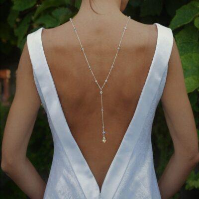Ślubny naszyjnik na plecy z kryształami Swarovski - srebro i kryształki - Crystal AB - całość
