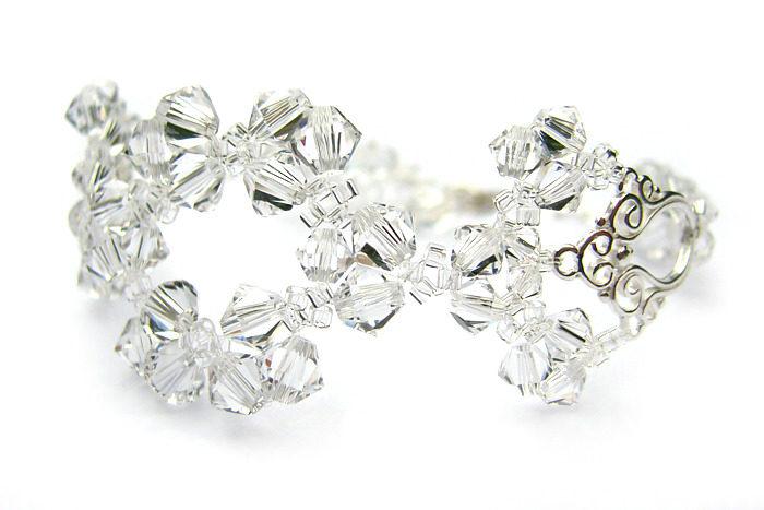 Ślubna bransoletka Lacey - Swarovski Crystal - bezbarwna