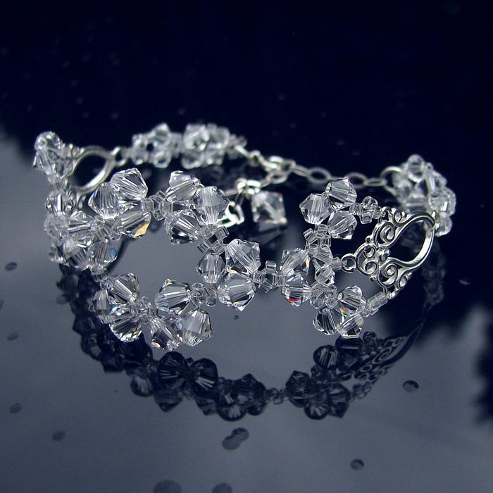Bransoletka ślubna Lacey - Swarovski Crystal - bezbarwna