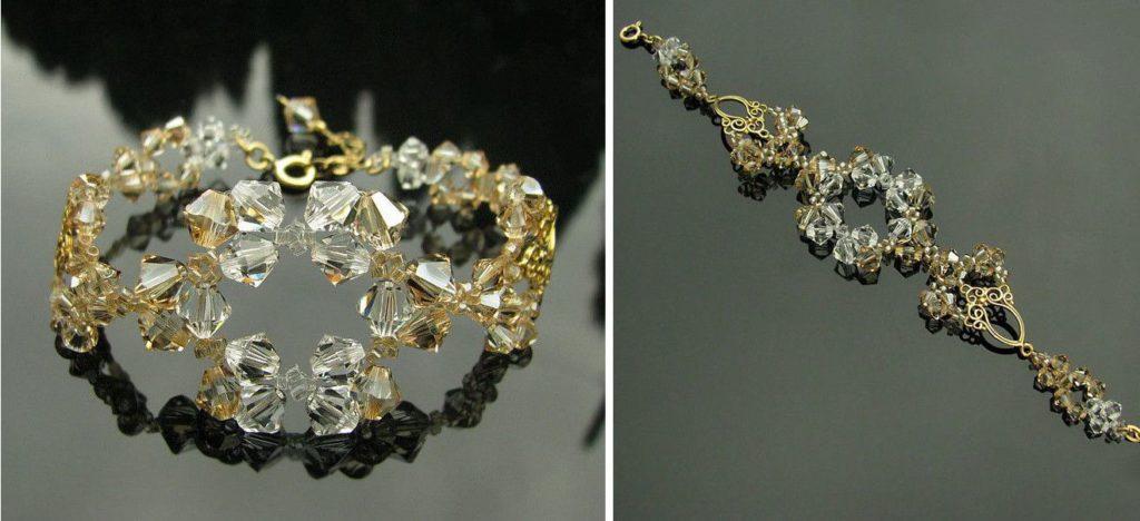 Bransoletka ślubna pozłacana - Swarovski Golden Shadow + Crystal