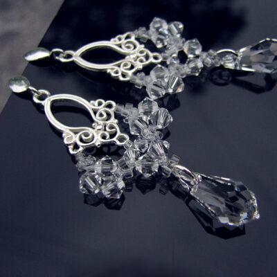 Kolczyki ślubne - wiszące - Lacey - Swarovski Crystal