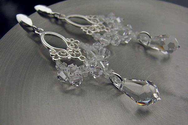 Ślubne kolczyki - wiszące - Lacey - Swarovski Crystal