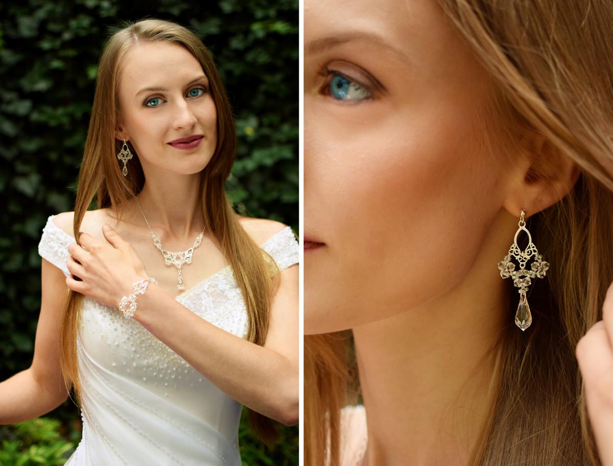 Kolczyki ślubne - wiszące - Lacey - Swarovski Crystal - Panna Młoda