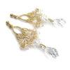 Slubne kolczyki Swarovski Golden Shadow i Crystal - Lacey - pozłacane