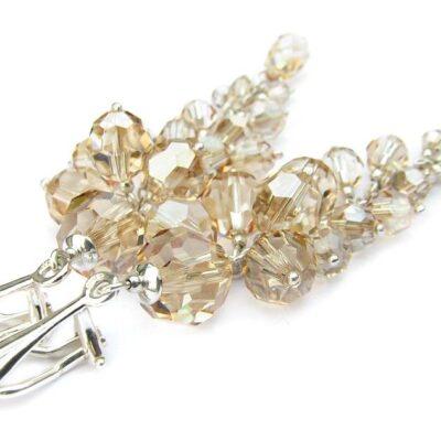 Długie klipsy ślubne - srebro i Swarovski - kryształy Golden Shadow
