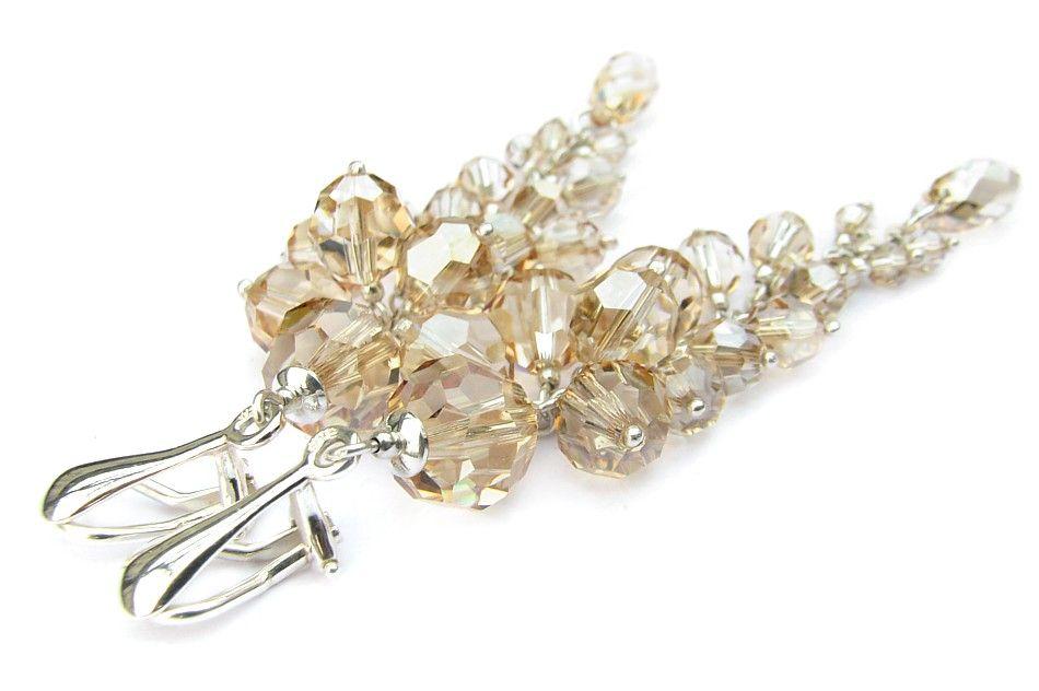 e1113628b016dd Długie klipsy ślubne - srebro i Swarovski - kryształy Golden Shadow