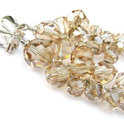 Klipsy ślubne - srebro i Swarovski - kryształy Golden Shadow - długie gronka