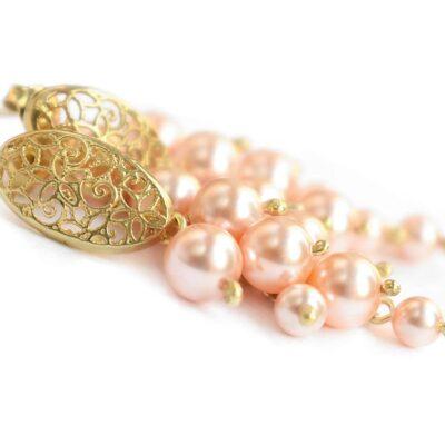Kolczyki ślubne - gronka - perły Swarovski - ażurowe, pozałacane - brzoskwiniowe