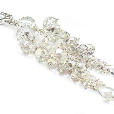 Kolczyki ślubne - srebrzyste, platynowe kryształy Swarovski - Silver Shade
