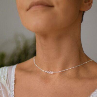 Przód ślubnego naszyjnika na plecy - Swarovski Crystal AB - lariat