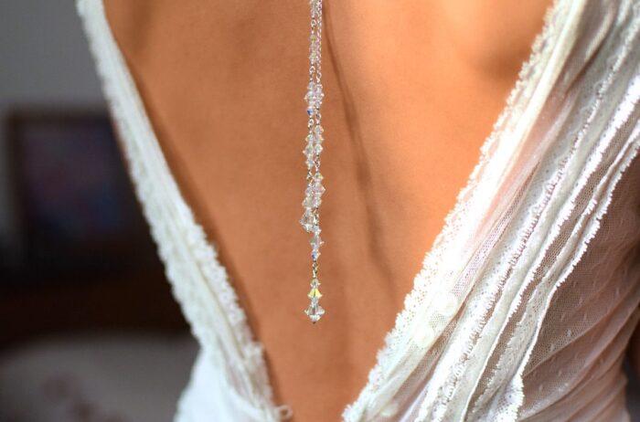 Ślubny naszyjnik na plecy - kryształy Swarovski Crystal AB - lariat