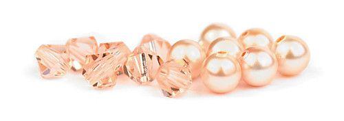 Ślubny naszyjnik na plecy - perły Swarovski Peach i kryształy Light Peach