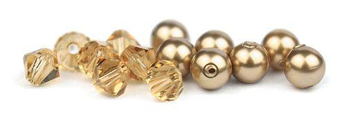 Ślubny naszyjnik na plecy - perły Swarovski Bronze i kryształy Light Colorado Topaz